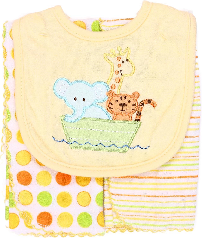 Spasilk Unisex-Baby Newborn Set Of Bib and Two Burpcloths