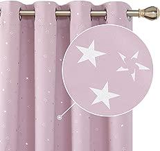 Deconovo Cortina Opaca con Ojales Diseño de Estrella Plateada 2 Paneles 140 x 180 cm Rosa Claro