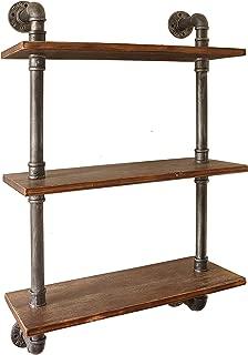 "Barnyard Designs 3-Tier Floating Wall Mount Bookshelf - Solid Pine Wood Shelves - Rustic Vintage Industrial Style Decorative Bookshelves 38"" x 23.5"""