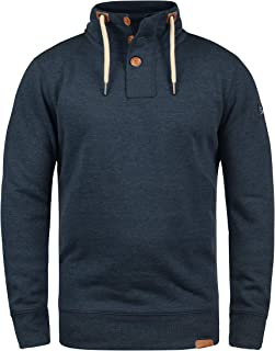 !Solid TripTroyer men's sweatshirt jumper with stand-up collar and button closure