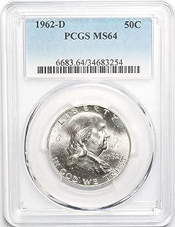 1962 D Franklin Half Dollar MS64 PCGS
