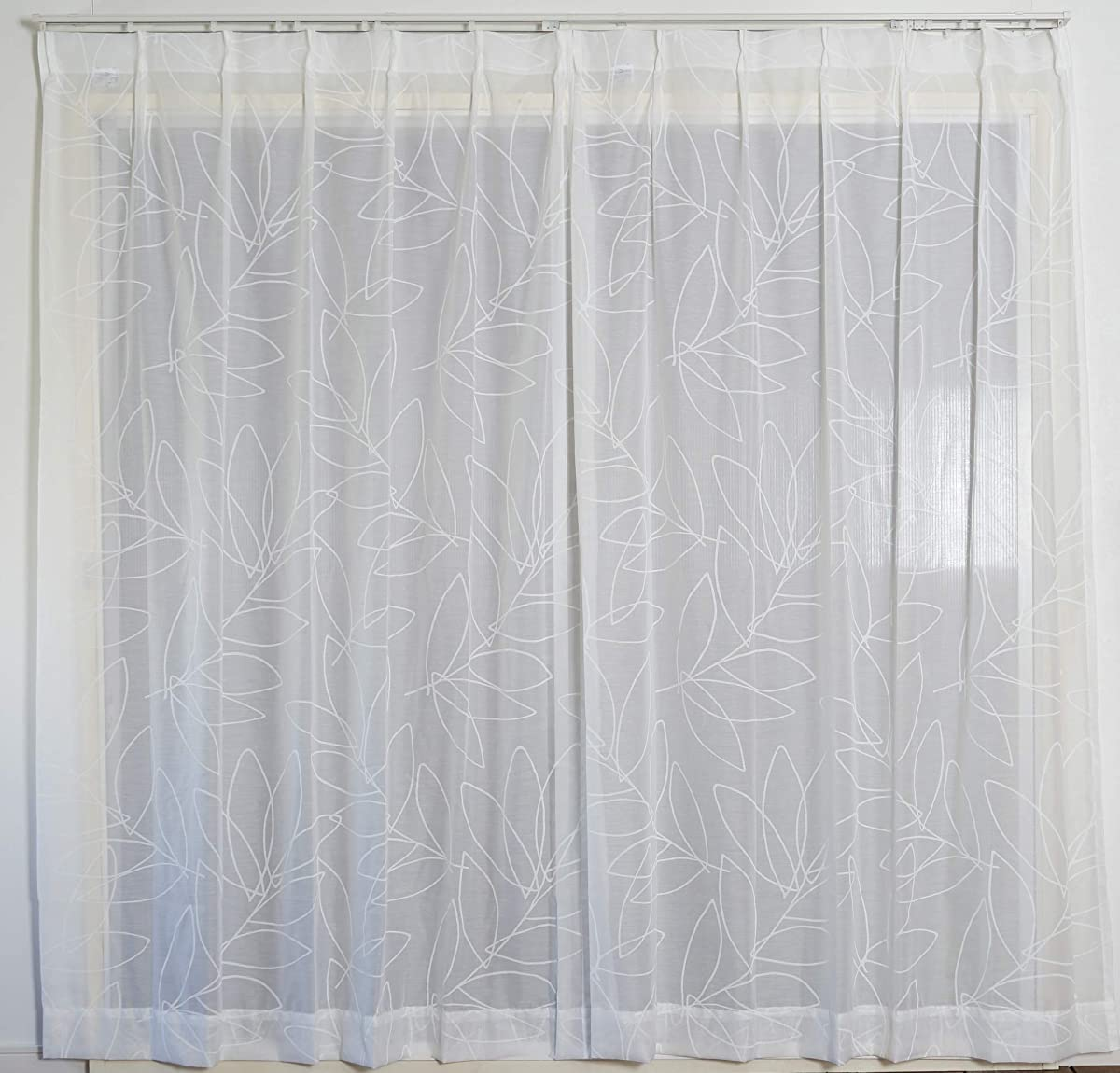 毛細血管パットブラザースミノエ(Suminoe) レースカーテン ホワイト 幅190cm ×丈133cm リーニャボイル 洗える オーダーレース V1315