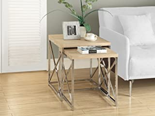 Monarch Specialties I 3205, Nesting Table, Chrome Metal, Natural, Table Set, 2 pcs