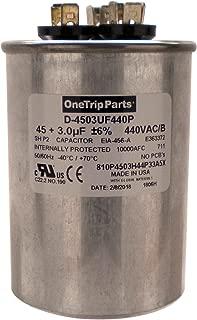 OneTrip Parts USA Run Capacitor 45+3 UF 45/3 MFD 370 VAC / 440 VAC 2-1/2 Inch Round Heavy Duty