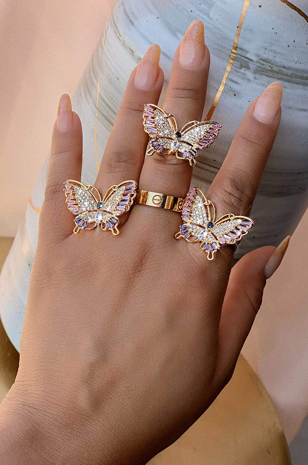Lavencious Butterfly Design with AAA CZ Color Stones Adjustable Statement Rings for Women