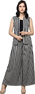 Serein Women's Shrug/Blazer (Black and White Stripes Crepe Fabric Sleeveless Shrug/Jackets)
