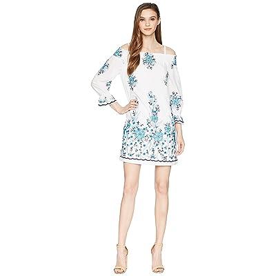 Calvin Klein Off Shoulder Embroidered Dress CD8G11HX (White Multi) Women