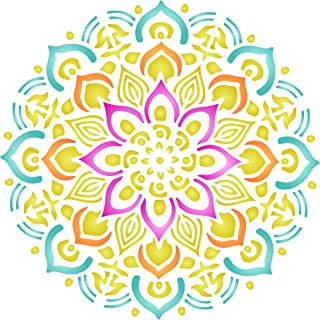 Healing Mandala Stencil - 6.5 x 6.5 inch (S) - Reusable AUM Indian Buddhist Spiritual Stencils for Painting - Use on Paper Projects Walls Floors Fabric Furniture Glass Wood etc.
