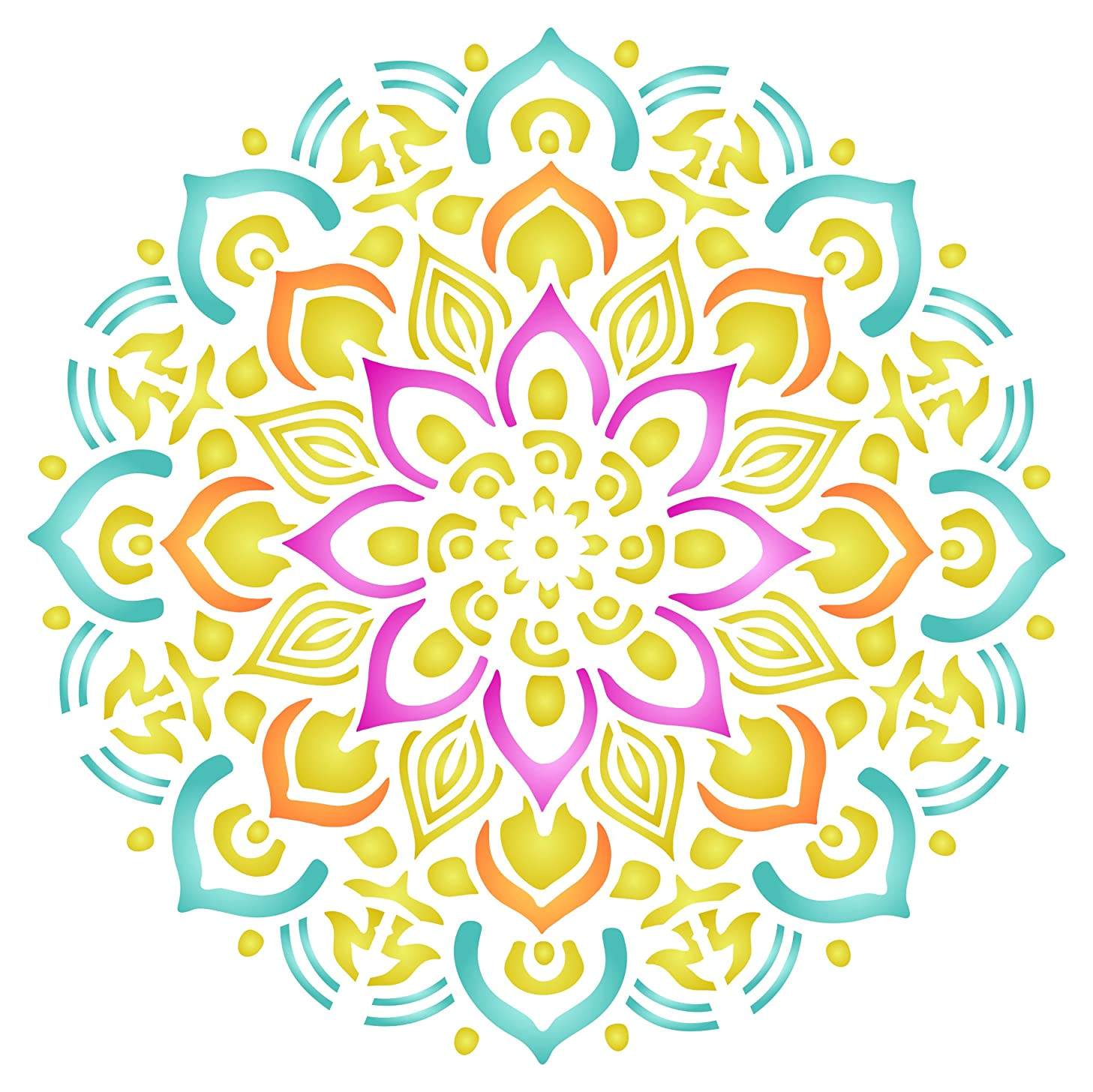 Healing Mandala Stencil - 10 x 10 inch (M) - Reusable AUM Indian Buddhist Spiritual Stencils for Painting - Use on Paper Projects Walls Floors Fabric Furniture Glass Wood etc.
