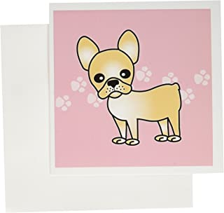3dRose Cute Cream French Bulldog Pink with Pawprints - Greeting Cards, 6 x 6 inches, set of 12 (gc_25323_2)