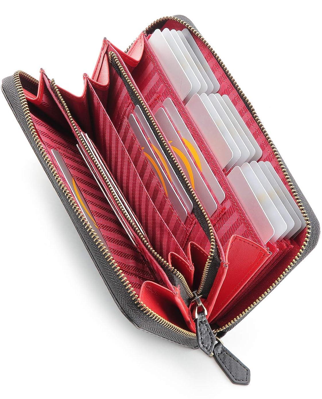 共役腐敗した反逆n&t(エヌ&ティー)長財布 メンズ ラウンドファスナー カーボンレザー 小銭入れ カード 26枚収納可