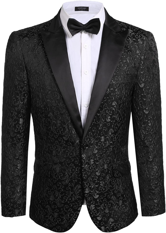 COOFANDY Men Floral Blazer Suit Jacket Dinner Party Prom Wedding Stylish Tuxedo