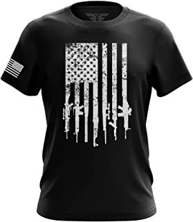 Rifle Flag American Military Mens Made in USA T-Shirt