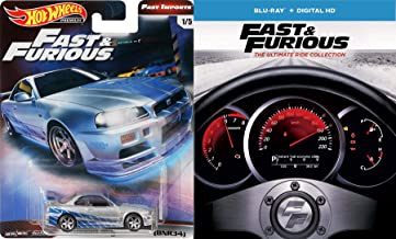 Insane Street Racing Fast & Furious 1-7 Collection Super Charged Edition / 2 / Tokyo Drift / Five + Car Set (Blu-ray + DIGITAL HD) + Movie Replica Car Nissan Skyline Hot Wheels Real Riders Package
