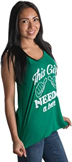 This Girl Needs a Beer | Women Racerback St. Patrick`s Day Irish Paddy Tank Top