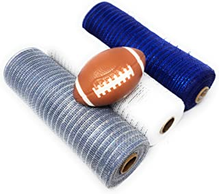 Tesadorz Football Themed 10in Metallic Deco Mesh Rolls (White, Silver, Navy Blue) and Greenbriar Football