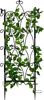 MyGift Antique Scroll Metal Garden Trellis Plant Display Screen for Climbing Plants, 47 x 18 Inch