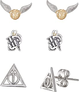 Harry Potter Jewelry for Women and Girls, Silver Plated Snitch, Harry Potter Logo & Deathly Hallows Emblem 3 Piece Stud Earrings Set