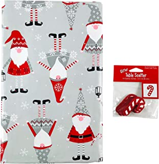 Holiday Christmas Vinyl Tablecloth: Cute Gnomes Help to Decorate with Glitter Candy Cane Table Scatter (60 Round)