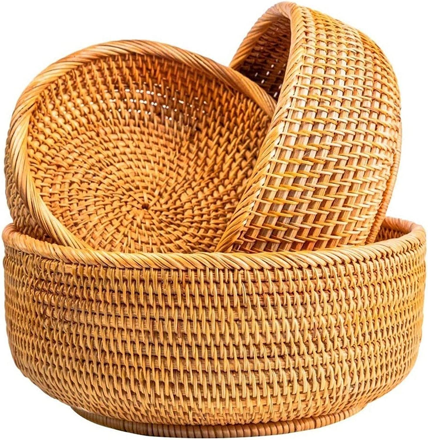 Dealing full price reduction Storage Basket Baskets for Vegetable Ra Handmade Round Long Beach Mall Woven Lid