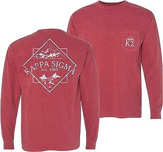Kappa Sigma Fraternity Greek Crimson Comfort Colors Long Sleeve Pocket Tee Kappa Sig