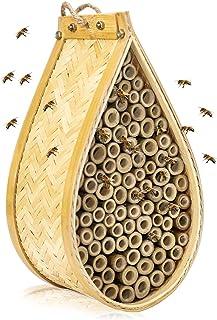 KIBAGA Mason Bee House - Handmade Natural Bamboo Bee Hive - Attracts Peaceful Bee Pollinators to Enhance Your Garden's Productivity