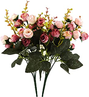 JEDFORE 21 Heads Artificial Silk Rose Dried Flowers Flower Arrangement Fake Bouquet Wedding Home Floral Decor - Pack of 2 (Pink & Coffee)