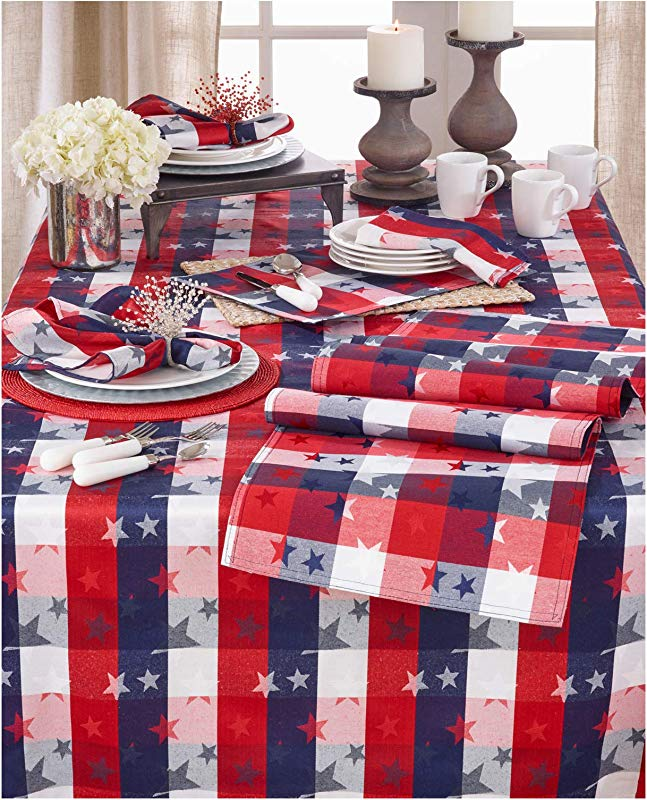 Occasion Gallery Red White And Blue Checkered With Stars Cotton Polyester Blend Patriotic Tablecloth 70 X84 Rectangular 1 Piece