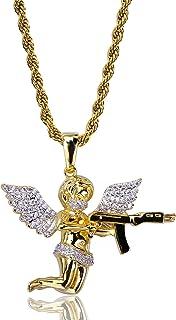 Gioielli Moca Ghiacciato Cupido Tiro con L'Arco Collana con Ciondolo Placcato in Oro 18k Bling CZ Diamante simulato Hip Ho...