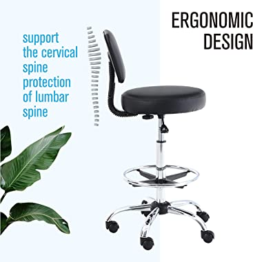 ALPHA HOME Office Chair Drafting Chair Ergonomic Office Chair Desk Chair Medical Spa Stool Support Modern Executive Mid Back