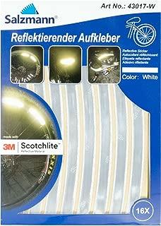 Salzmann 3M Reflective Bike Stickers, made with 3M Scotchlite - Ideal For Wheel Rims & Helmets (16 pcs), White