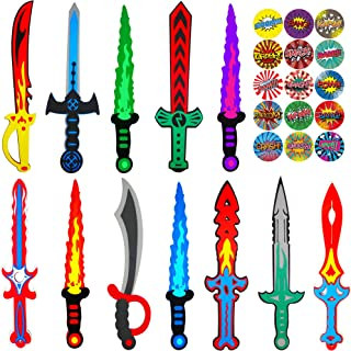 Funtoga 12 Foam Toy Swords for Kids Ninja Pirate Weapon Bulk Party Supplies Set + Superhero Stickers