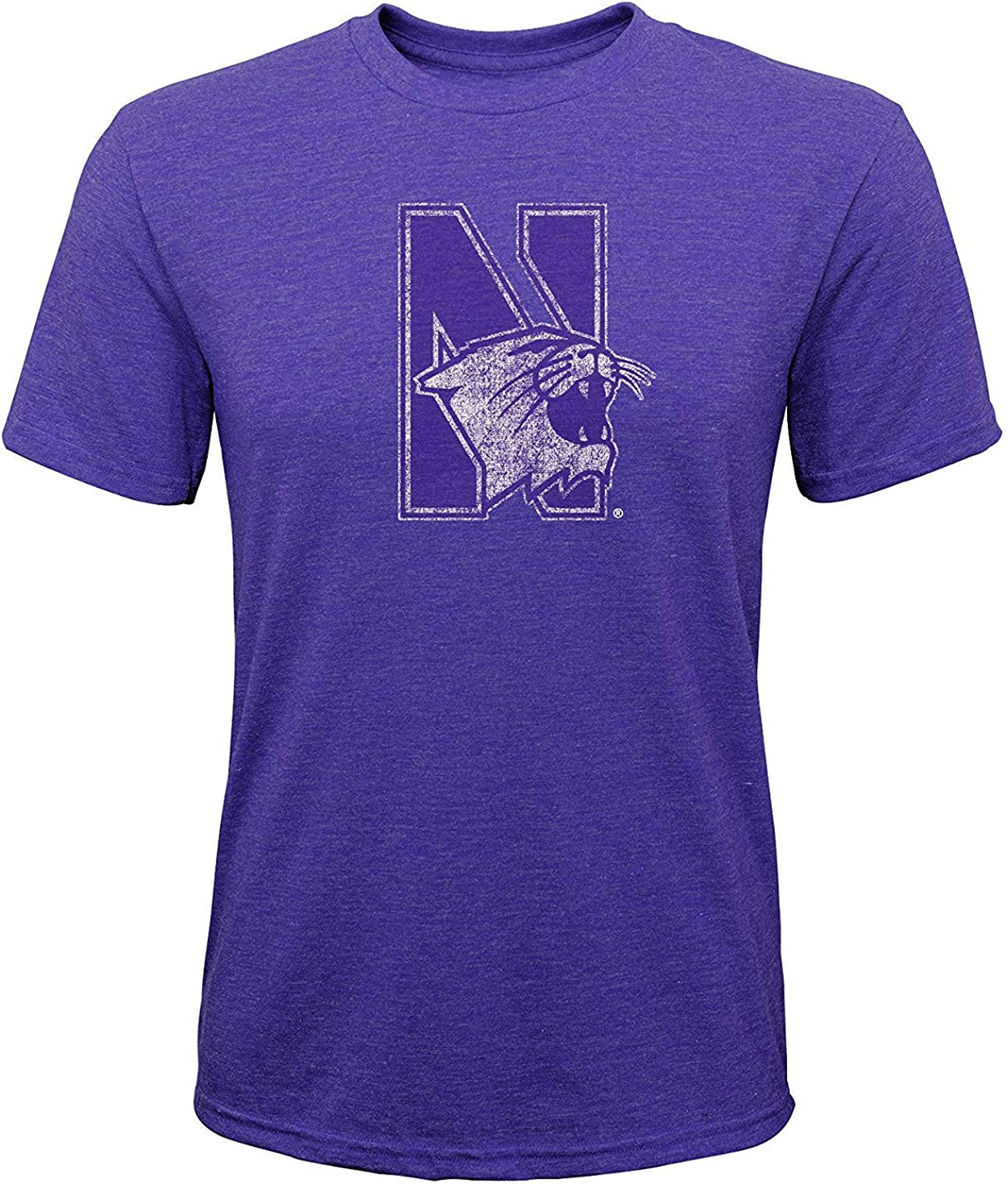 Adidas Northwestern Wildcats Youth Distressed Logo Tri Blend Shirt