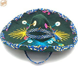 YAJUA Mariachi Mexican Mini Sombrero 5 inches for Mexican Themed Party or Small Dog/Cat Hat (Assorted Single Pack)