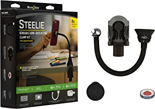 Nite Ize Original Steelie Bendable Arm + Ratcheting Clamp Kit - Magnetic Smartphone Gooseneck Clamp Mounting System with 2x Holding Power and Restickable Magnet Adapter