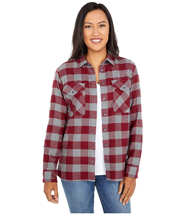 1940s Blouses, Shirts and Tops Fashion History Pendleton Elbow Patch Flannel Shirt CabernetGrey Check Womens Clothing $52.03 AT vintagedancer.com