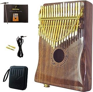 Moozica Piano de pulgar EQ Kalimba de 17 teclas, madera de koa sólida de alta calidad, Kalimba eléctrica con recogida integrada y acabado lacado de piano de alto brillo (K17KP-EQ)