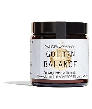Wunder Workshop Equilibrio Dorado Mezcla Superalimentos Ecológicos - Extracto Ashwagandha, Cúrcuma, Regaliz - Mezcla Adaptógenos - Producto Ético - Vegano, Vegetariano 40 g