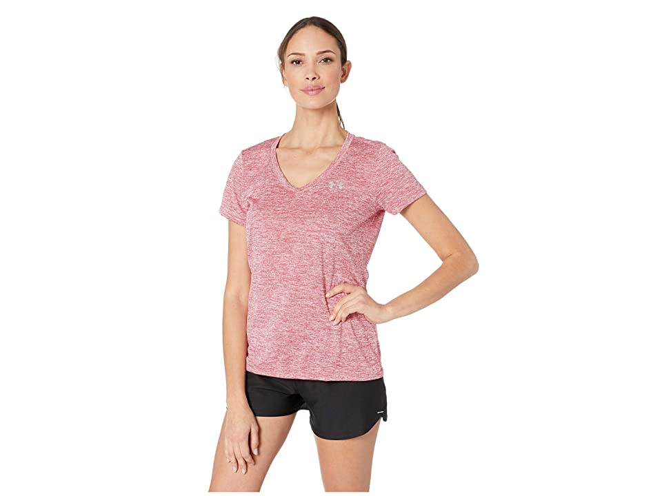 Under Armour UA Techtm Twist V-Neck (Impulse Pink/Metallic Silver) Women's Short Sleeve Pullover, Red
