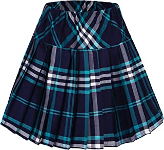 Urban CoCo Women's Elastic Waist Tartan Pleated School Skirt