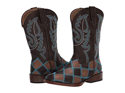 Roper Kids Bird Blocks (Toddler/Little Kid) (Brown/Tan Patchwork Vamp/Brown Shaft) Cowboy Boots