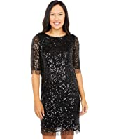 All Over Sequins on Mesh A-Line Dress with Beaded Fringe Trim