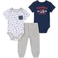 Tommy Hilfiger Baby Boys 3 Pieces Bodysuit Pants Set