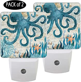 Pfrewn Vintage Octopus Seashell Starfish Night Light Plug in Set of 2 for Kids Adults Boys Girls Babies, Beach Night Lights Led Auto Motion Senor for Reading Bathroom Bedroom Nursery Decorative