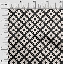 oneOone Velvet Black Fabric Floral & Tiles Moroccan Fabric for Sewing Printed Craft Fabric by The Yard 58 Inch Wide