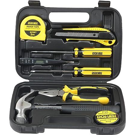 Multifunctional Tool Set 15 Piece Small Tool Kit Mini Portable Tool Set Home Repair Hand Tool Kit with Plastic Storage Case Herramienta Color : Black, Size : 26.5x18.5x6cm