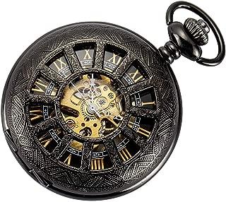 Skeleton Pocket Watch Special 12-Little-Window Case Design Men Black Mechanical with Chain Box