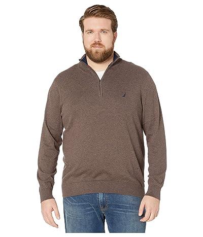 Nautica Big & Tall Big Tall 1/4 Zip Navtech Mock Neck Sweater (Sable Heather) Men
