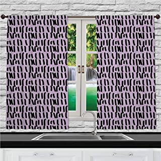 Home & Kitchen Decor Window Treatment Panel Curtains, Purple,Prison Cell Day Counting On A Wall Inspired Hand Drawn Lines in A Row Image,Lilac and Black, 55 W X 39 L Inches