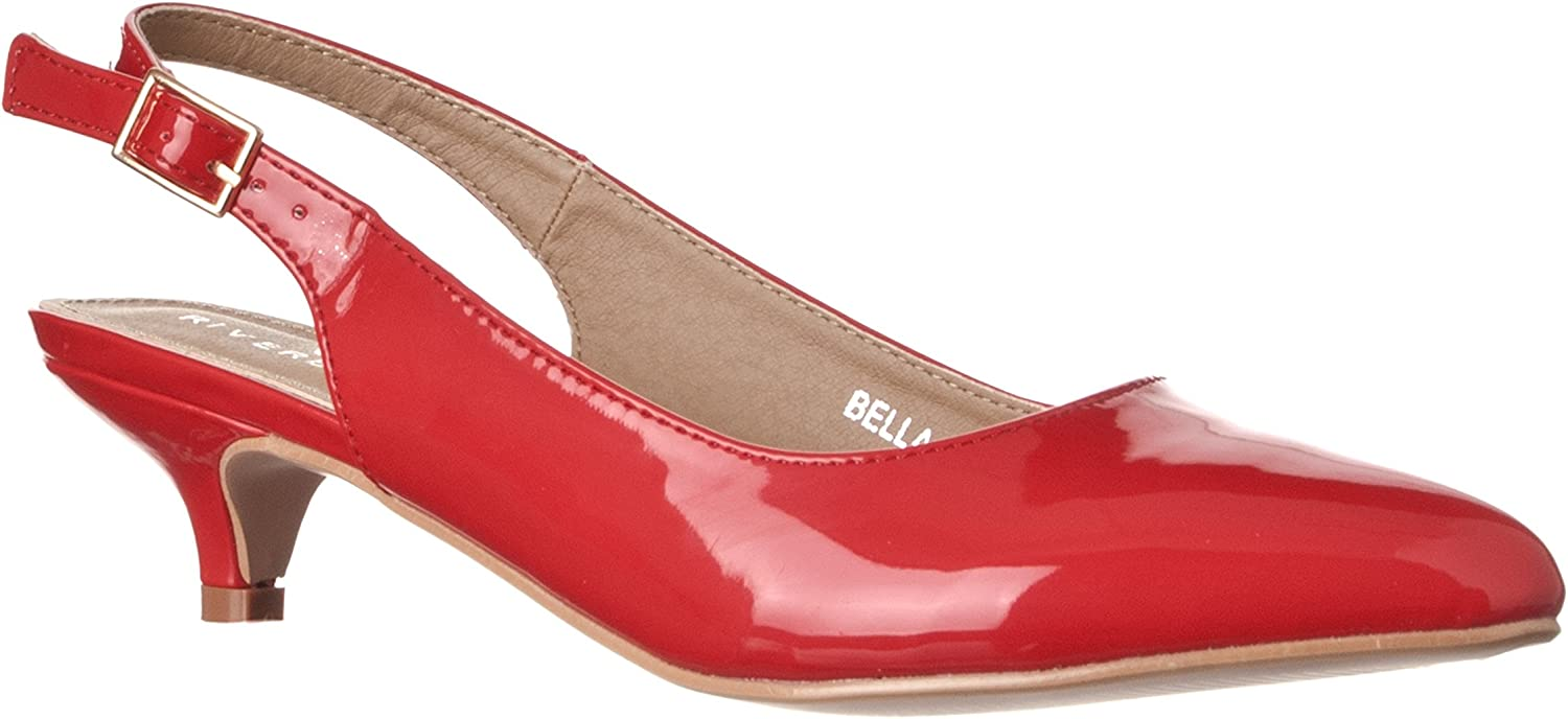 Riverberry Women's Bella Pointed Toe Sling Back Low-Height Pump Heels